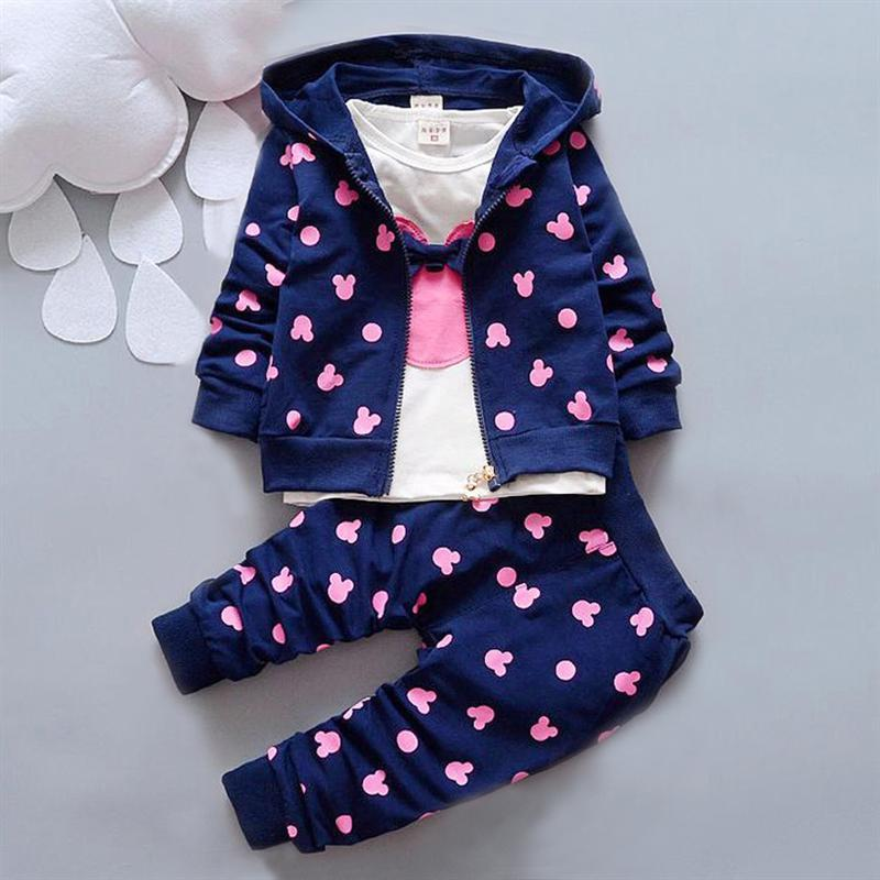 2016 Autumn baby clothing girl / boys kids minnie mickey girls boys clothes t-shirt+coat+pants 3 suit Girls Boys clothing sets