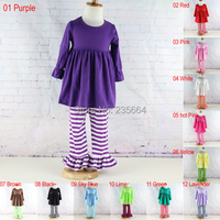 Factory Sale Long Sleeve Cotton Baby Girl Clothing Set Kids Solid Ruffled Dress And Ruffled Pants