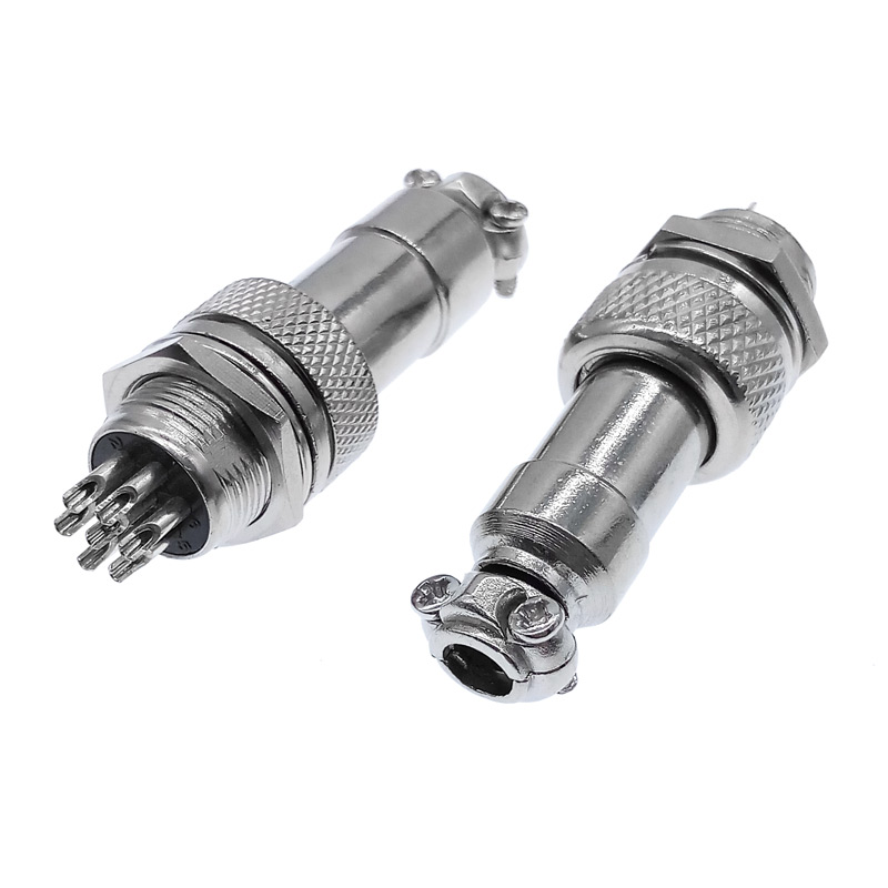 "Купить с кэшбэком 7/16"" GX12 Aviation Circular Connector  2 Pin 3pin 4pin 5pin 6pin 7pin Male Plug& Female Socket 12mm DF12 M12"