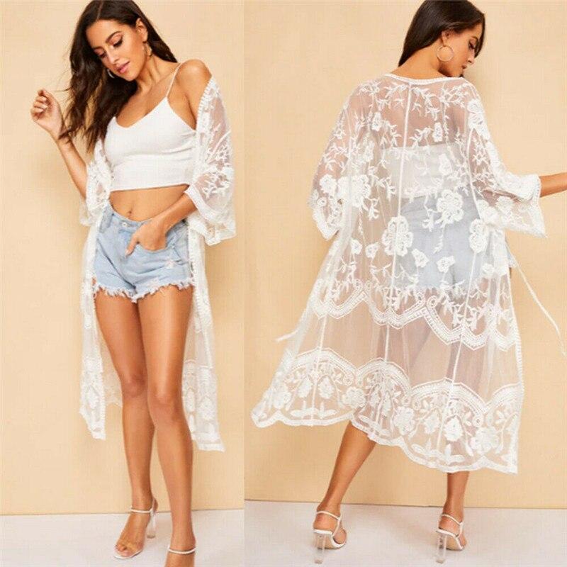 2019 Women's  Lace Crochet Bikini Swimwear Cover Up Casual Beach Dress Hot Summer Bikini Covers Cardigan Kimono