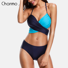 Charmo Women Bikini Set triangle Halter Swimwear Solid Color Swimsuit Cross Bandage Sexy Bikini Bathing Suit Beachwear wire free