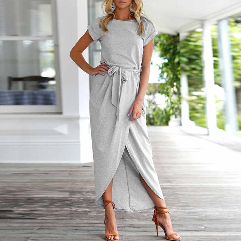 2020 lange Party Kleider Plus Größe Sommer Kurzarm Frauen Kleid Elegante Maxi Lose Vestidos Casual Sommerkleider Weibliche XXL XXXL