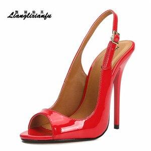 Image 2 - LLXF zapatos mujer 13 cm dünne heels Stiletto Pumps schuhe frau kleid Pantent Leder Sandalen Peep Toe Cosplay pumpen US16 17
