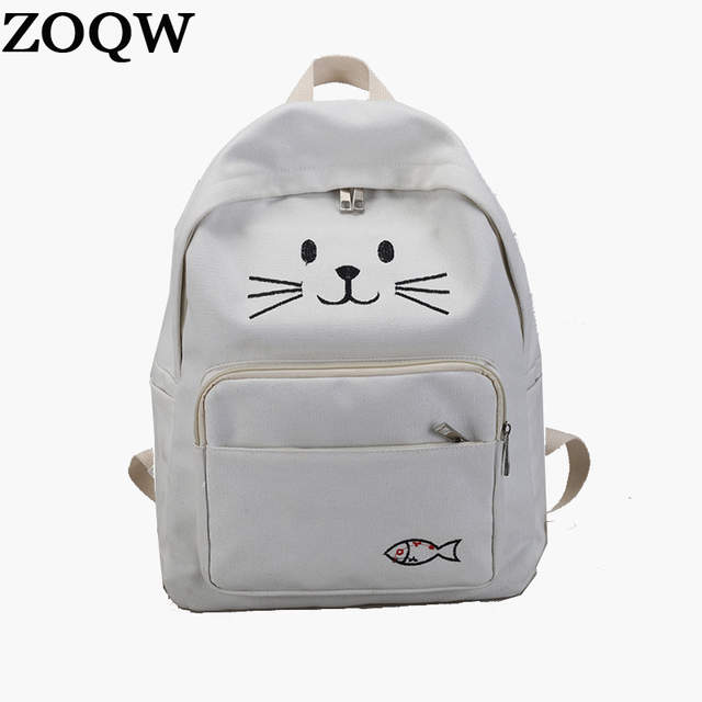 ZOQW Lovely Cat Backpack Women Canvas Backpack School Bags For Teenagers  Ladies Cute Backpacks Girls Travel 6050454ac3