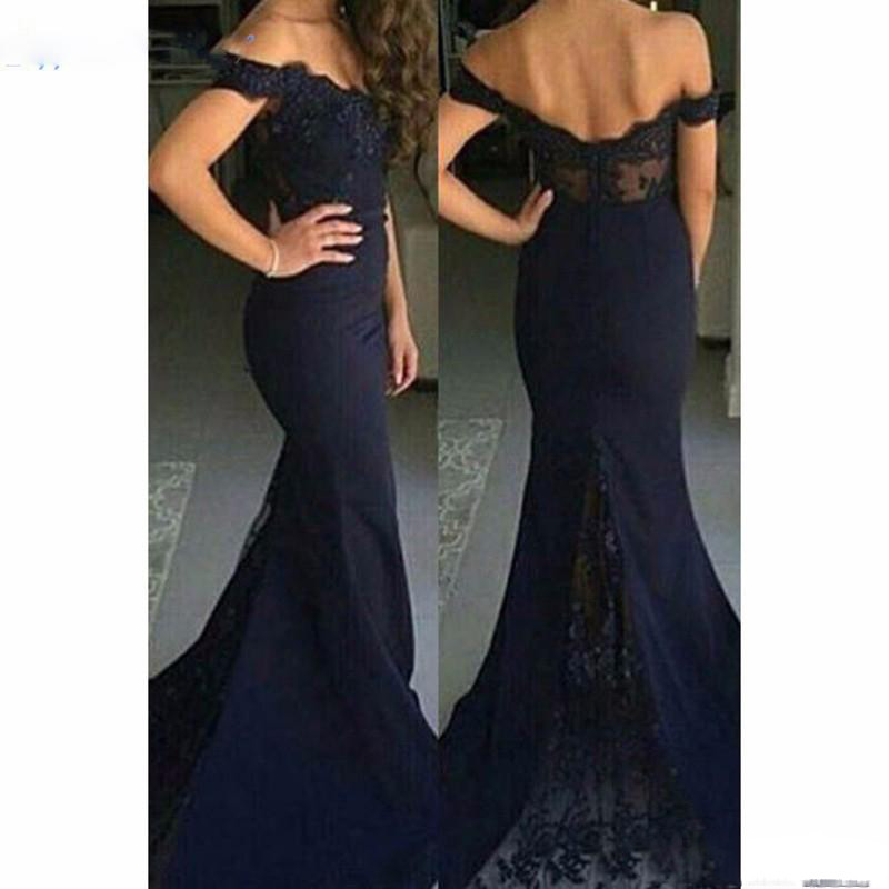 2017 Elegant Prom Party Gowns Vestidos De Festa Sexy Off Shoulder Navy Blue Black Burgundy Appliques Mermaid Bridesmaid Dresses