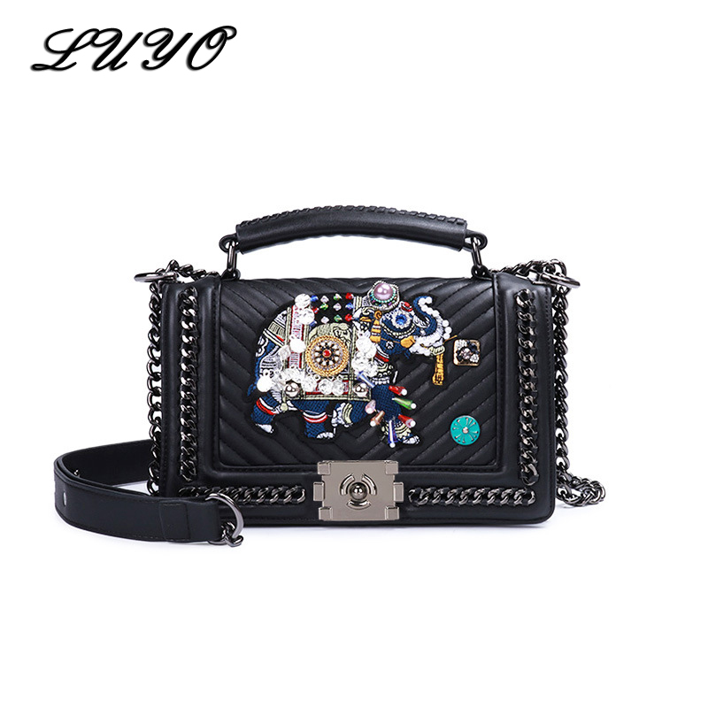 LUYO Elephant Embroidery Chain Small Shoulder summer Bag Female Luxury Handbags Women Messenger Bags Designer Channels HandbagsLUYO Elephant Embroidery Chain Small Shoulder summer Bag Female Luxury Handbags Women Messenger Bags Designer Channels Handbags