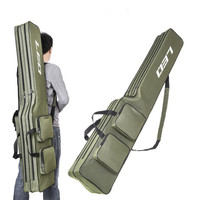 Outdoor Double-layered Fishing Rod Bag Folding Zipped Fish Poles Carrier Storage Pouch