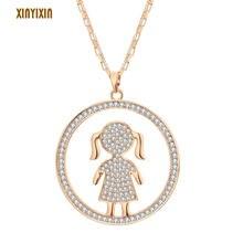 Модное ожерелье с подвеской золотого цвета кристаллами для девушек