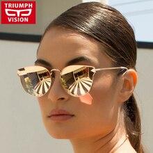 TRIUMPH VISION Cat Eye Sunglasses Women Sun Glasses Ladies Designer Metal Mirrored Oversized Lentes Gafas Oculos de sol Feminino