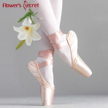 Çiçek' Gizli Pointe Saten üst şerit Kızlar Kadın Pembe Profesyonel Bale Ayakkabıları Dans Ayakkabıları Ile Ayak Pedleri