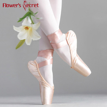 Flower Secret Pointe Satin Upper With Ribbon Girls Womens Pink Professional Ballet Shoes Dancing  Toe Pads