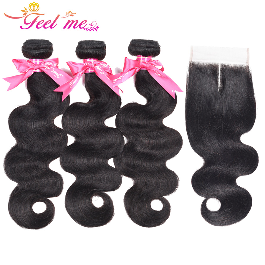 Feel Me Human Hair Bundles With Closure 4PCS Brazilian Body Wave Hair Weaving Lace Closure Middle Part 10-26 Non Remy Hair