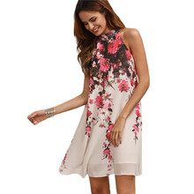 цена на Summer Short Print Dresses Casual New Arrival Women Straight Multicolor Round Neck Floral Cut Out Sleeveless Shift Dress