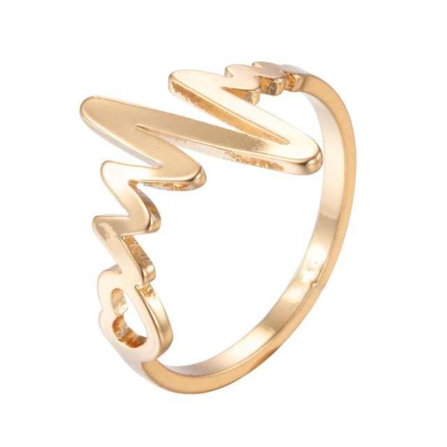 Gold Color Heart Beat Ring