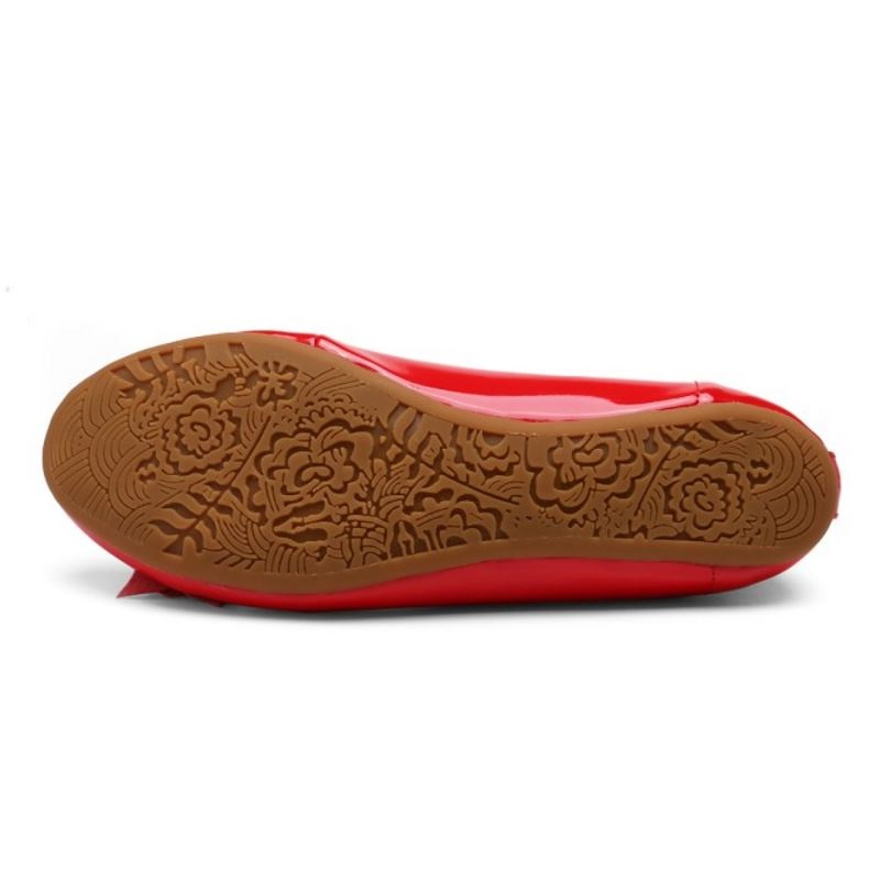 Rond Rose Appartements Fleur rouge Verni En Femmes Cuir Ballerines Bout 40 35 Chaussures Razamaza Taille XxqwOACgUf