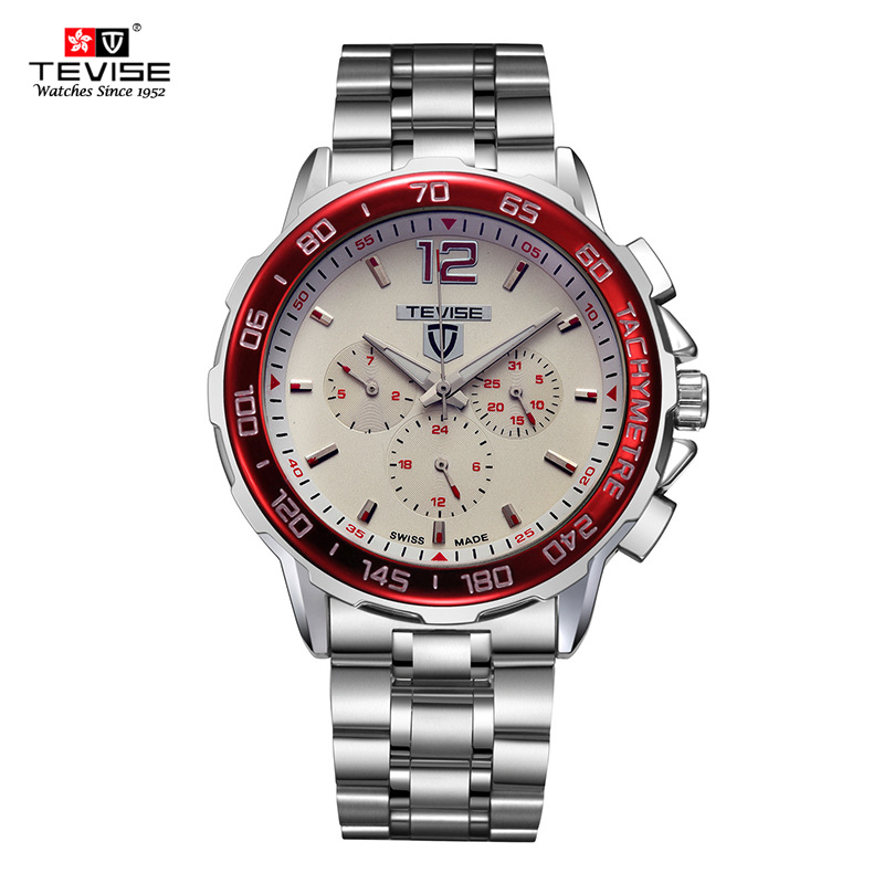 TEVISE New watch 4 colors White dial Full Stainless strap push Button Hidden clasp Automatic Mechanical Men's watch Hot Selling wireless service call bell system popular in restaurant ce passed 433 92mhz full equipment watch pager 1 watch 7 call button