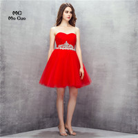 Hot Selling 2017 Rode Homecoming jurk korte Kristallen Juwelen Sweetheart cocktail party dress Tulle korte homecoming Prom dress