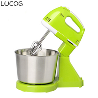 LUCOG Electric Stand Food Mixer 7 Speed Egg Beater Dough Mixer Machine EU Plug Green Color