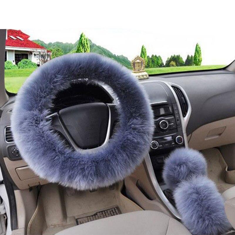 3 шт./компл. плюшевый мягкий теплый автомобильный комплект для рулевого колеса - Название цвета: blue grey