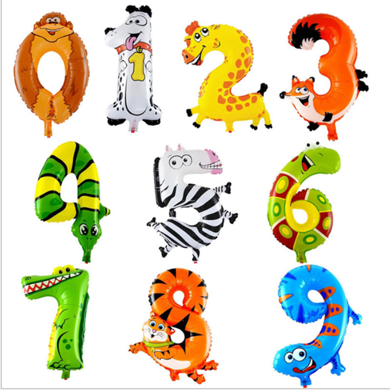 Animal <font><b>Ballon</b></font> Jungle Safari Party Balloon 0 <font><b>1</b></font> 2 3 4 5 6 7 8 9 Number Balloon Figure Jungle Animal Birthday Party Supply image