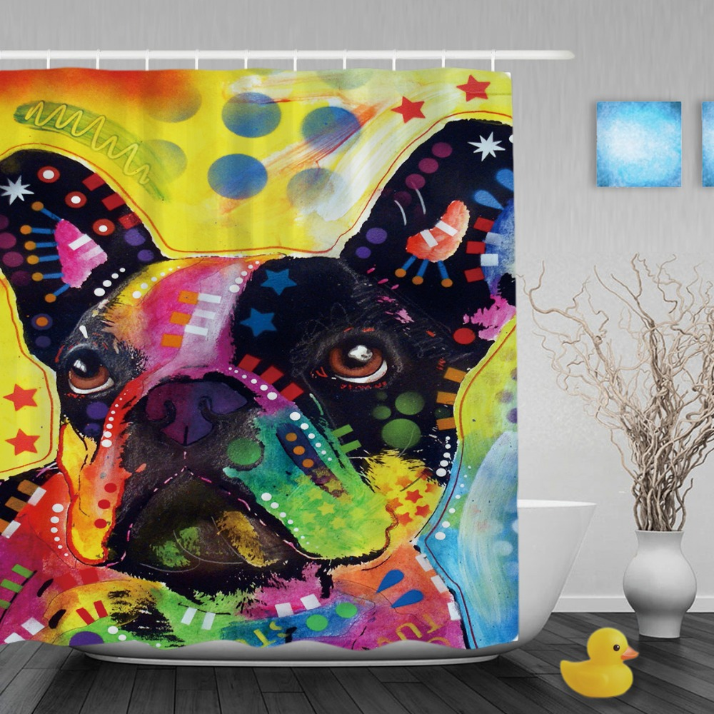 Lovely French Bulldog Shower Curtains Art Dog Personalized Bathroom Curtain Colorful Animal Waterproof Polyester