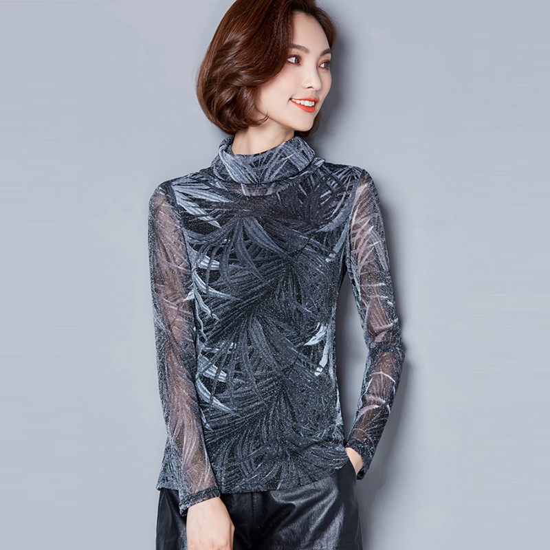 rojo 2018 Señoras Slim Floral Ropa Camisa Femme Cuello Sleeve Camisas Blusa Vetement Tops gris Mujer Full Alto Casual Otoño Imprimir Azul SFAYwqR