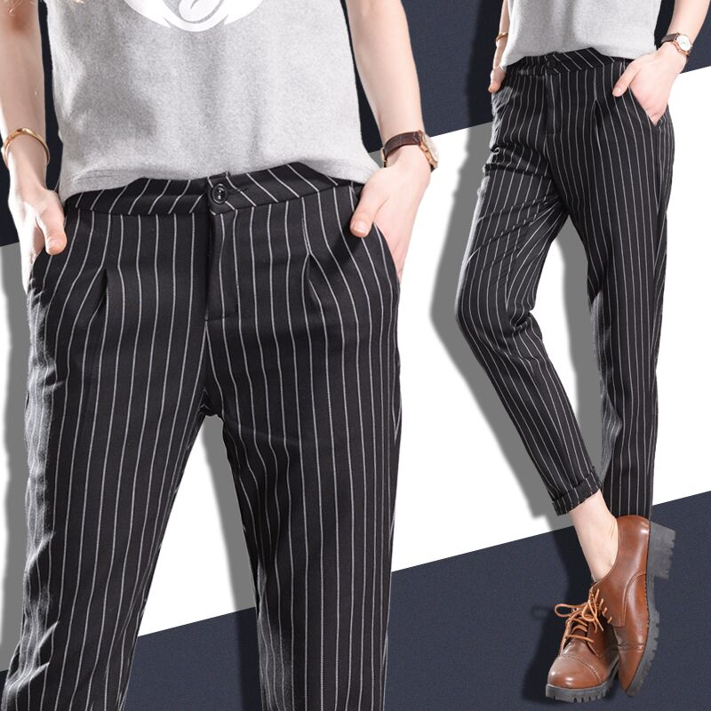 Women Black and White Vertical Striped Pants Promotion-Shop for ...