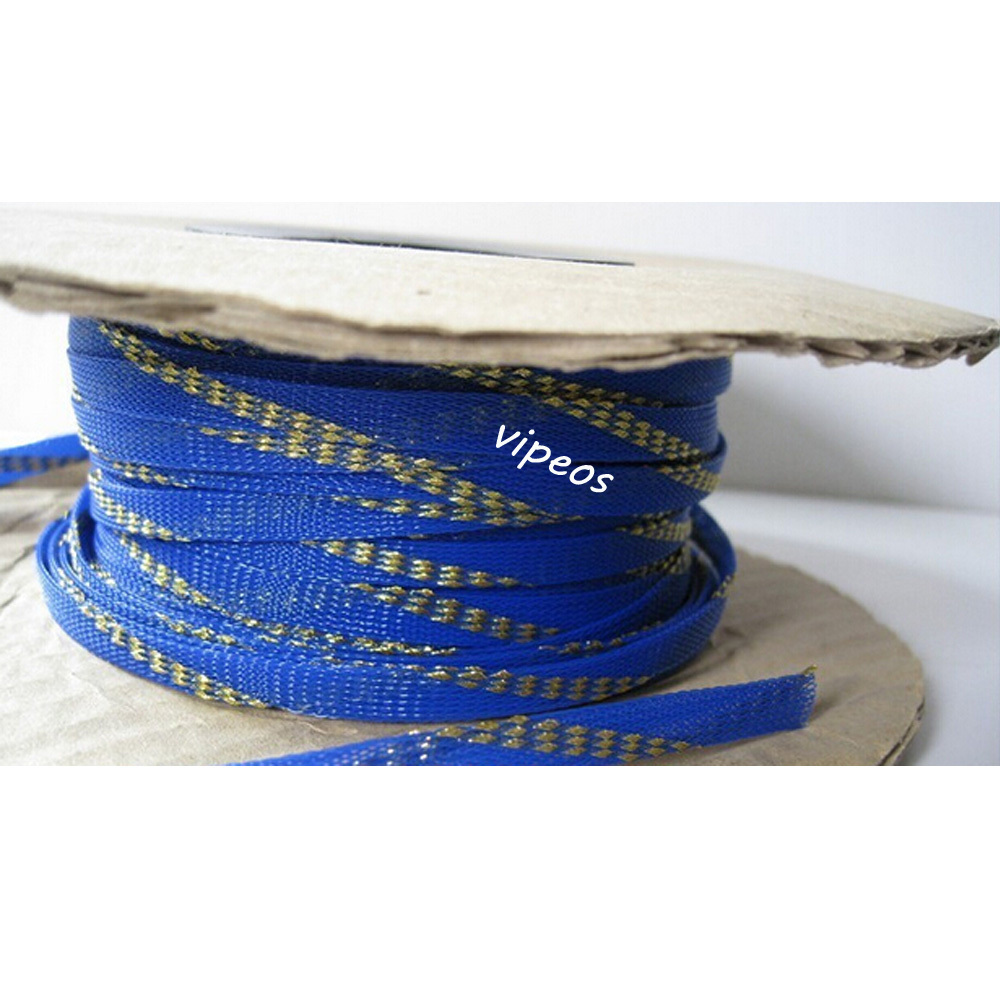 online buy whole wire harness protection from wire 10meter braided cable 6 10mm wiring harness loom protection sleeving blue gold for diy