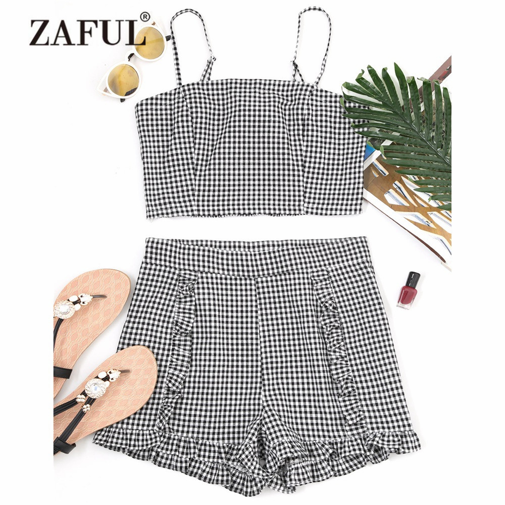 ZAFUL New Women Cover Ups Gingham Smocked Camis and Frilled Shorts Zipper Fly Pleated Spaghetti Straps Cover Ups for Women