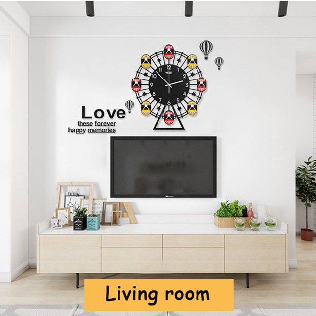 Ferris Wheel Large Wall Clock Modern Design Living Room Swing Digital Wall  Watch Home Decor Kitchen
