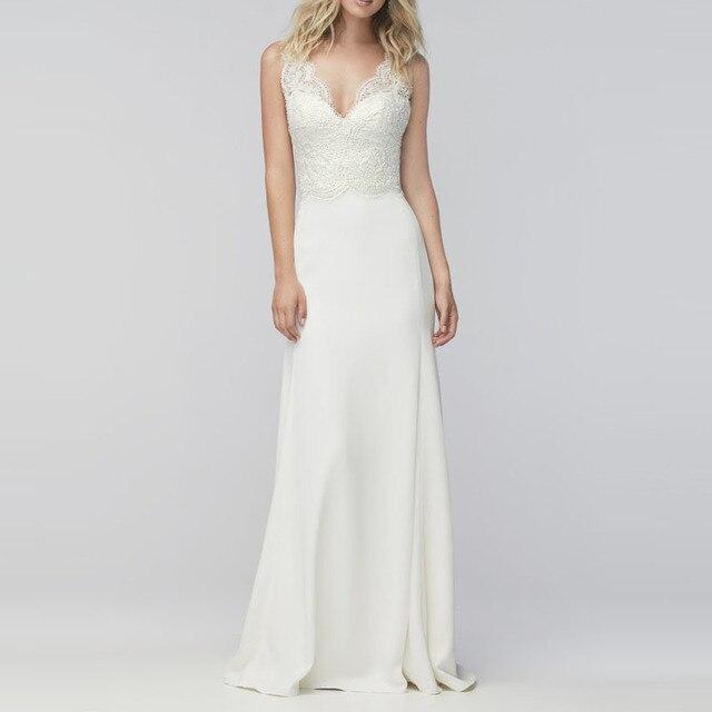OSHIVA 2017 White Summer Casual Wedding Dresses V Neck Lace Sheath ...
