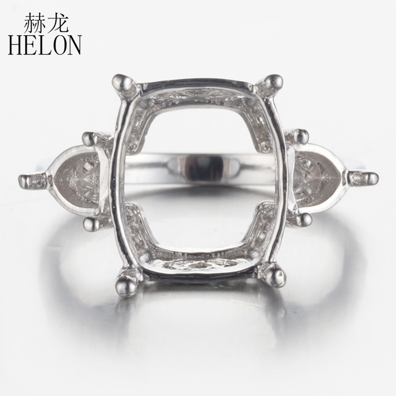 HELON Three Stones 925 Sterling Silver 13x10mm Cushion & 4.5mm Trillion Semi Mount Cut Ring Fine Jewelry Engagement Wedding Ring