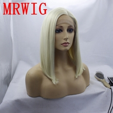 MRWIG  #613 blonde synthetic front lace wig short bob straight side part left 12in  for african americans adiors side part slightly curled short bob synthetic wig