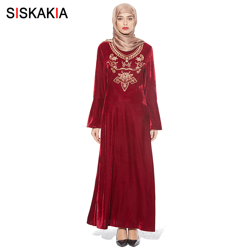 52c8f34c45ffe Siskakia loose big size velvet embroidered long dress Fashion Muslim round  neck long sleeve Vintage maxi dresses 2018 slim swing-in Islamic Clothing  from ...