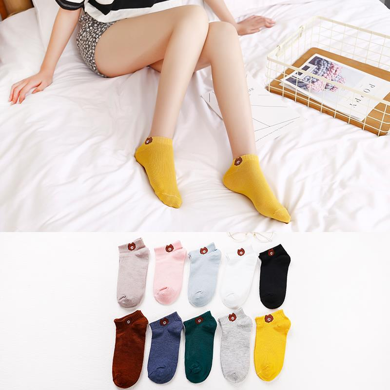 20 Pcs = 10 Pairs Spring New Ladies Boat Socks Polyester Cotton Cartoon Animal Female Socks Japanese Bear Socks Women Girl