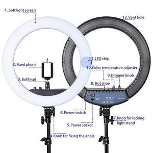Image 2 - Fusitu RL 18II Dimmable Photographic light 3200 5600K 512 Led Ring Light Camera Photo Studio Phone Makeup Ring Lamp with Tripod