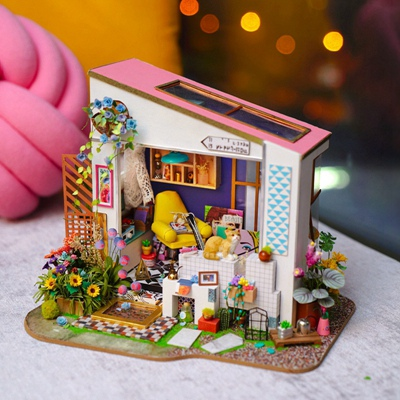 Robotime Dropshipping DIY Dollhouse Miniature with Light Doll House Furniture Wooden Dollhouse Kits Gift Toys for Children 8