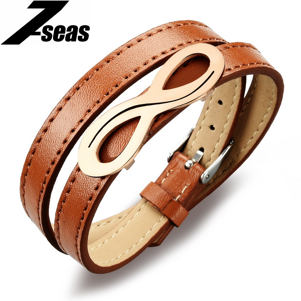 Personalized 8 Design Leather Bracelets Cool Stainless Steel Men Women  Jewlery Gift Length Adjustable Pulseras Hombre