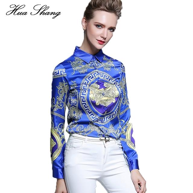 Huashang mulheres formal blusas soltas de manga longa elegante chiffon tops casual do vintage impressão da camisa plus size mulheres blusas azuis