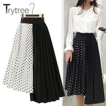 Trytree summer Autumn women Dot skirt Casual Polyester Chiffon Asymmetry Elastic Waist Pleated Skirt Fashion Plus Size skirts