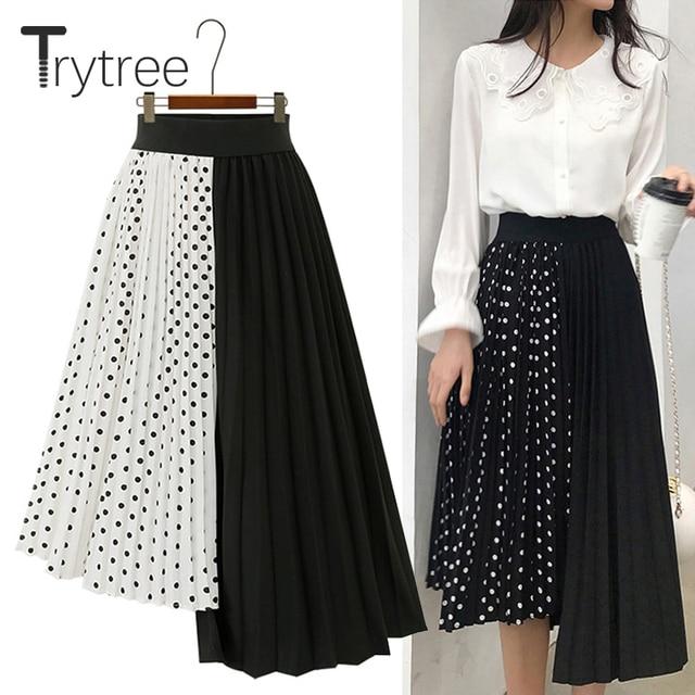 Wypróbuj drzewo lato jesień kobiety Dot spódnica na co dzień poliester szyfon asymetria plisowana spódnica z rozciągliwą talią moda spódnice plus size