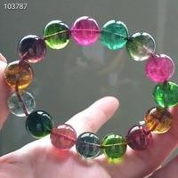 Из натуральной красочные Турмалин 13,2 мм, круглые бусины браслеты женщина человек одежда высшего качества камень «reiki» исцеления AAAAA сертифи