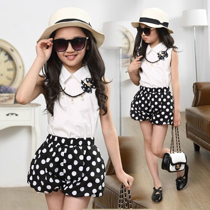 new summer style girl shirt shorts culottes bow necklace clothing