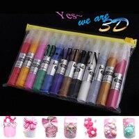 PerfectSummer 12 Colors Set Nail Art DIY 3D Art Pen Nail Polish Kits Drawing Pen Nail