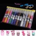 PerfectSummer 12 Colores Establecidos Del Arte Del Clavo de DIY 3D Art Pen Esmalte de uñas Kits de Plumas de Dibujo Pen Pintura de Uñas Herramientas de Manicura