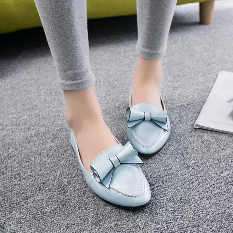 Women new spring summer lady office casual boat shoes sweet style fashion bowtie soft leather flats pointed toe flat shoes new 2017 spring summer women shoes pointed toe high quality brand fashion womens flats ladies plus size 41 sweet flock t179