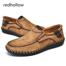 Mens Shoes Fashion Comfortable Man Casual Loafers Men Round Toe Soft PU Leather Flats Moccasins