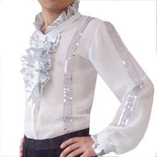Men's clothing clothing Chiffon Latin dance square dance Latin dance silver lace tops Y-3088 wholesale manufacturers