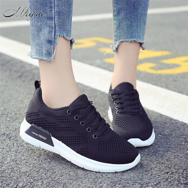 e6aef180d09e Mhysa 2018 Comfortable women sneakers air mesh spring autumn shoes solid  black Red pink gray female shoes size 35-40 S351