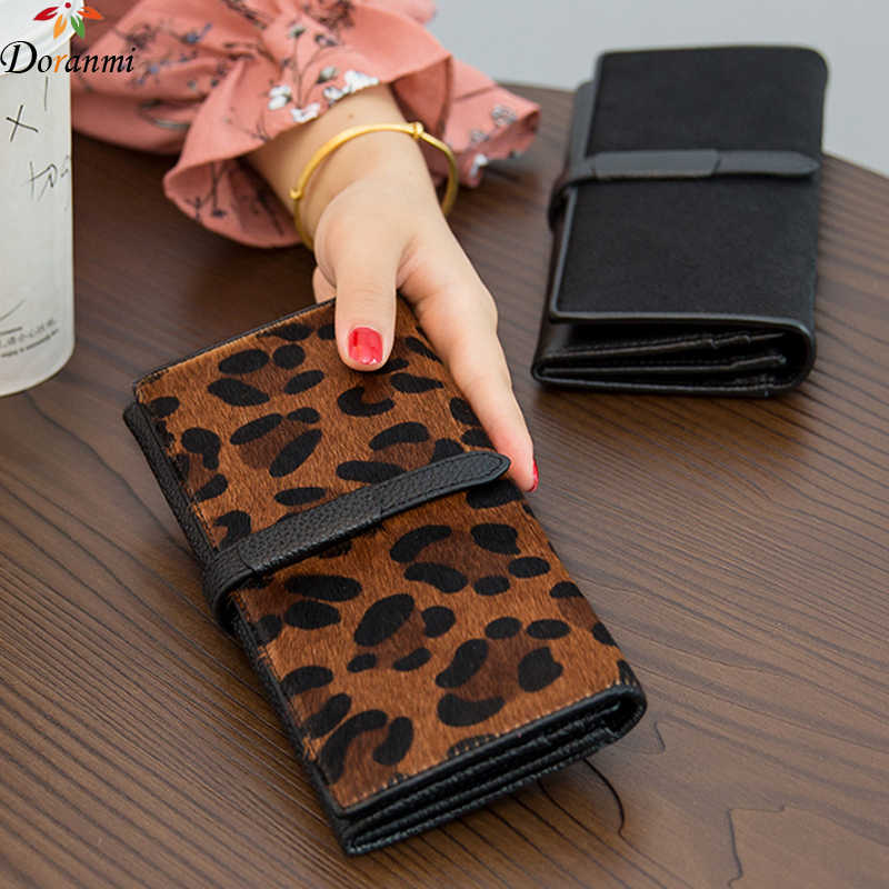 DORANMI Genuine Leather Long Wallets For Women 2019 Fashion Cow Leather Money Bag Female Folding Purses Bag Quality Wallet JB616